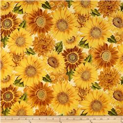 Shades of the Season Metallic Leaf Sunflower Ivory