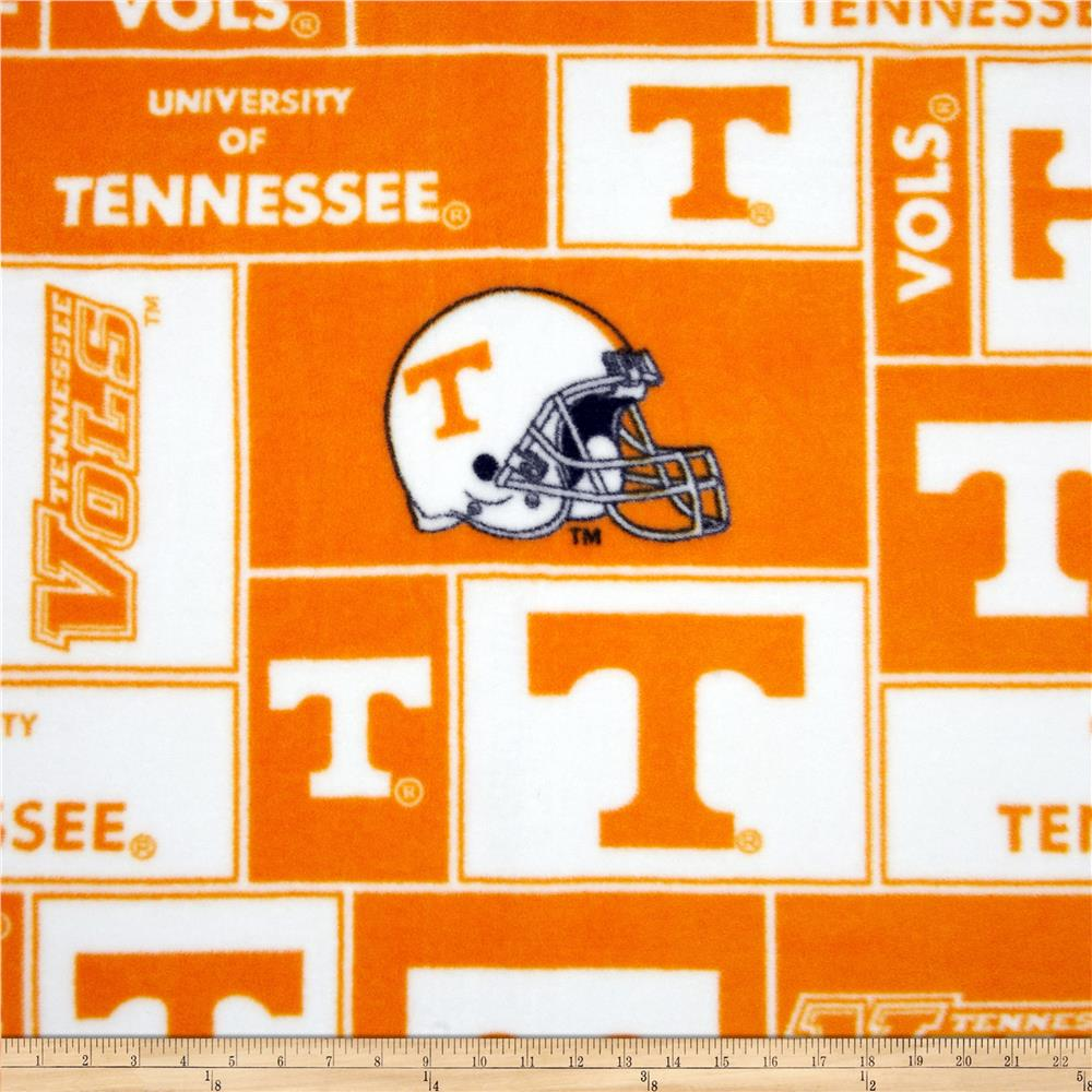 Collegiate Fleece University of Tennessee Blocks Orange/White Fabric By The Yard