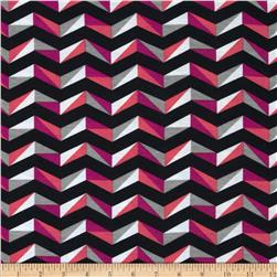 Fashionista Jersey Knit Wide Geo Chevron Pink