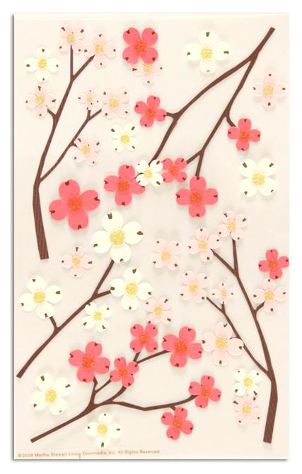 Martha Stewart Crafts Stickers Dogwood Branches Pink