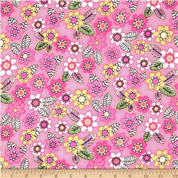 Comfy Flannel Tossed Flowers Pink