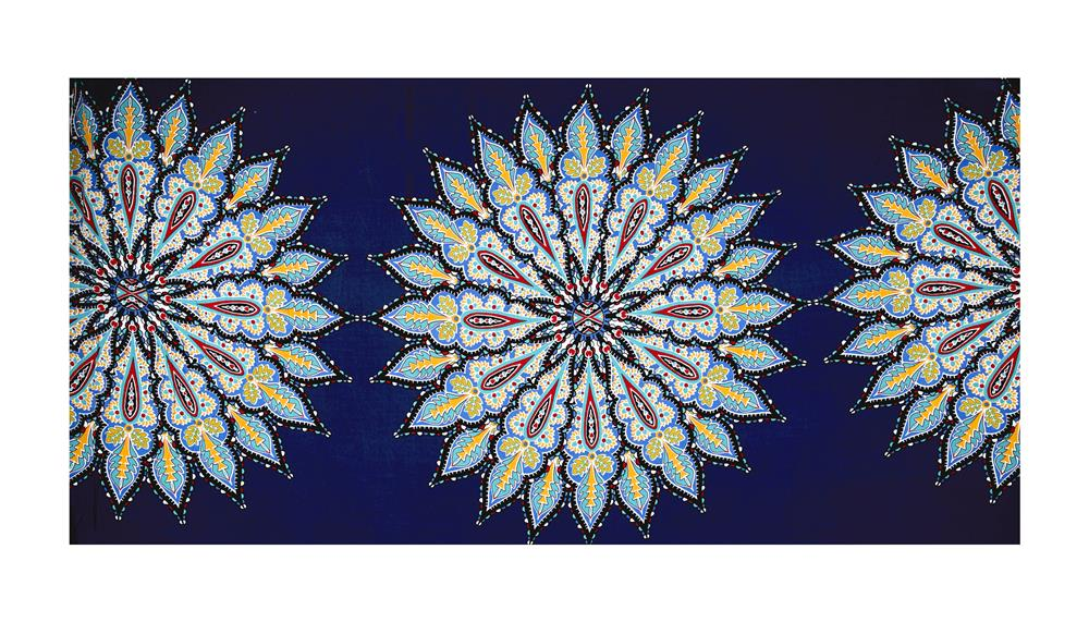Rayon Crepe Floral Burst 36'' Panel Navy/Turquoise/Yellow Fabric
