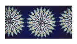 "Rayon Crepe Floral Burst 36"" Panel Navy/Turquoise/Yellow"