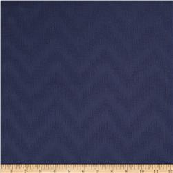 Waverly Peaks Solid Chevron Damask Navy Fabric