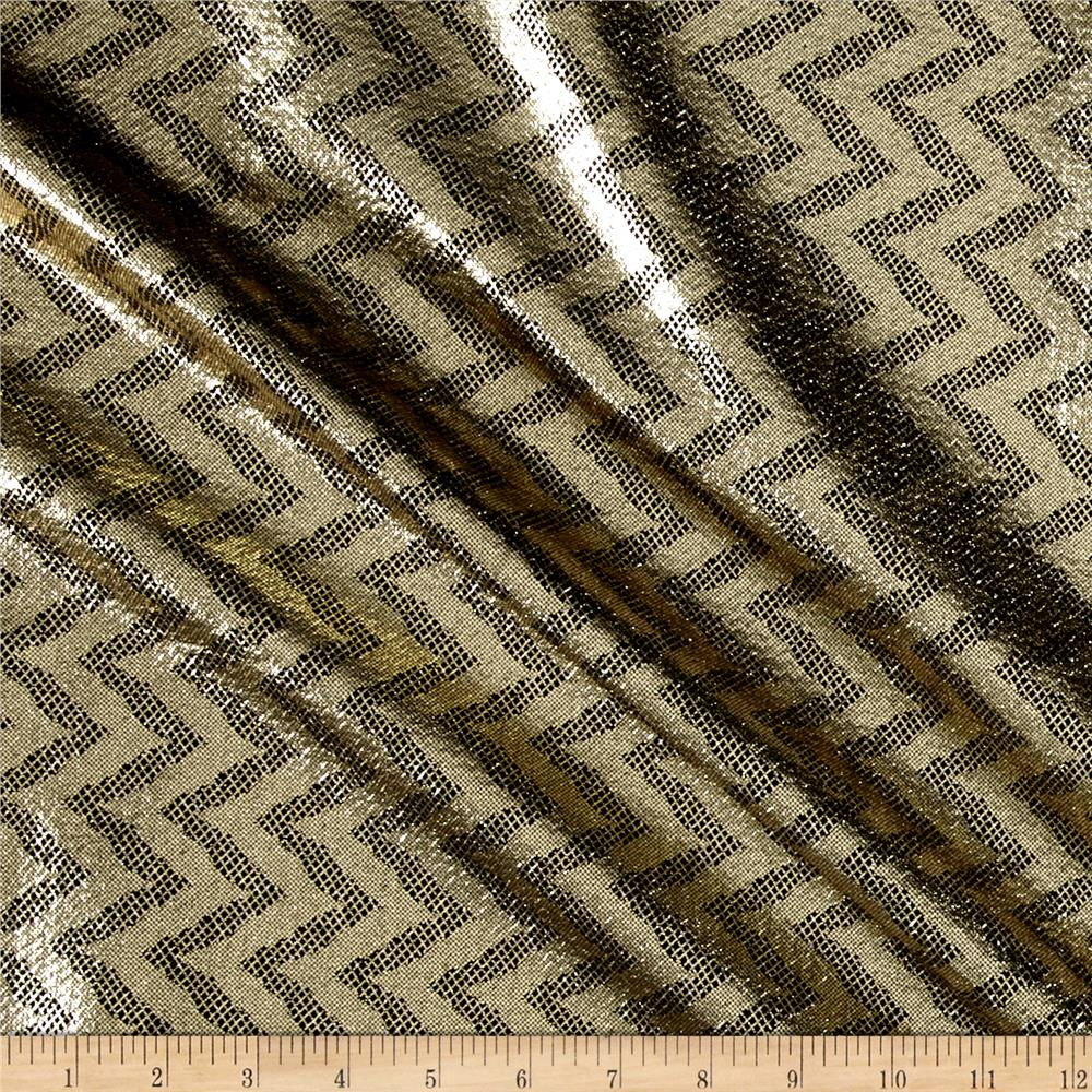 Metallic Zigzag Scuba Knit Gold/Black