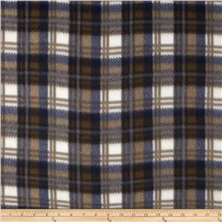 Printed Fleece Plaid Blue/Tan