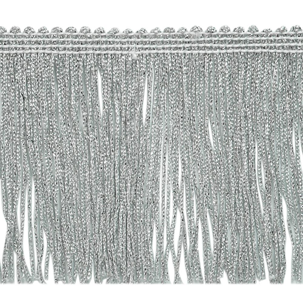 "4"" Metallic Chainette Fringe Trim Silver"