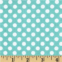 Riley Blake Dots Small Aqua Fabric