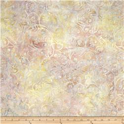 Batavian Batiks Scrolly Leaves Pastel Grey/Pink