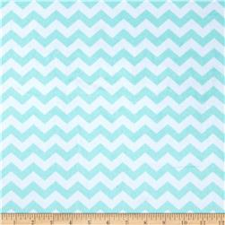 Minky Hytail Chevron Neon Aqua Fabric
