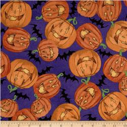 Halloween Happy Pumpkins Purple/Multi Fabric