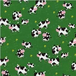Timeless Treasures Little Farm Cows Green