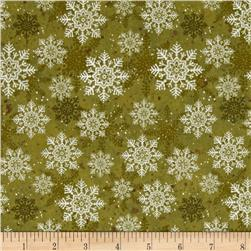 Christmas Wishes Snowflakes Olive