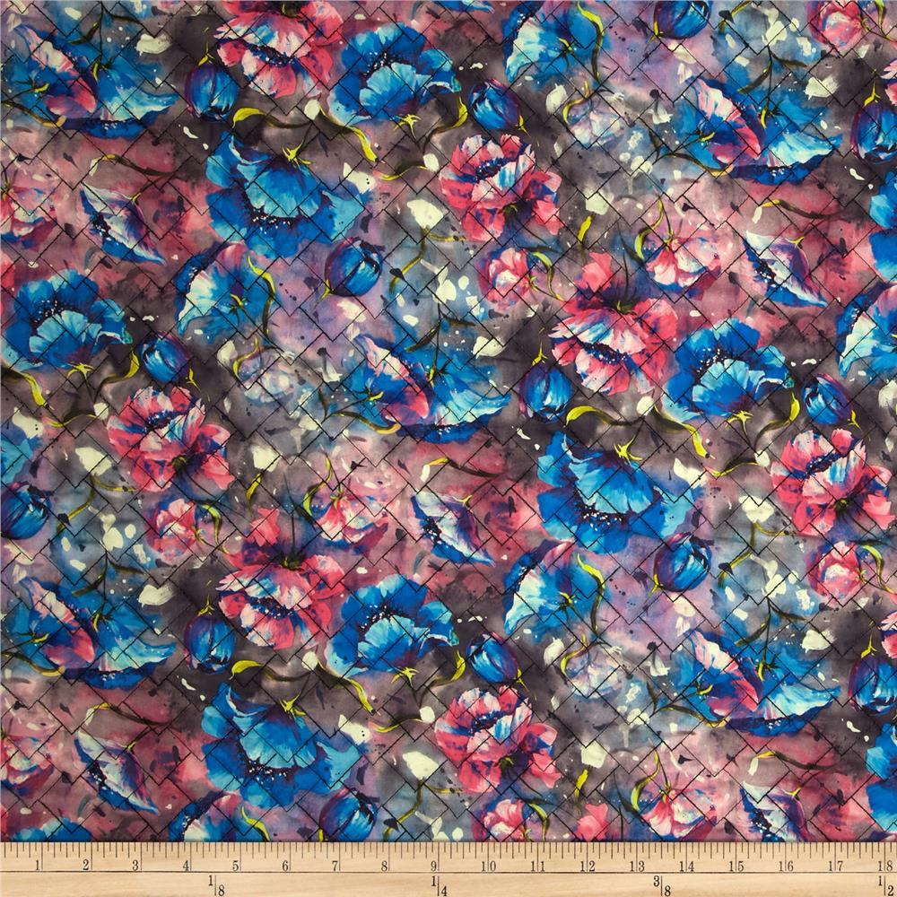 Rain or Shine Watercolor Floral Double Sided Quilted lt Royal Blue/Pink