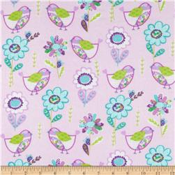 Flannel Birds & Flowers Purple