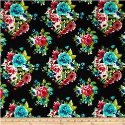 Stretch Ponte de Roma Knit Floral Black/Coral/Turquoise Fabric