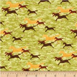 Horsin' Around Running Horses 24'' Panel Green/Brown Fabric