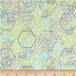 Jenean Morrison Lovelorn Hexagons Blue Fabric