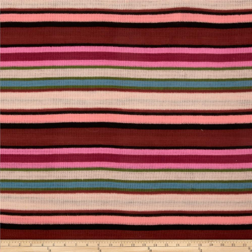 Stretch Waffle Knit Stripes Brown/Pink/Black