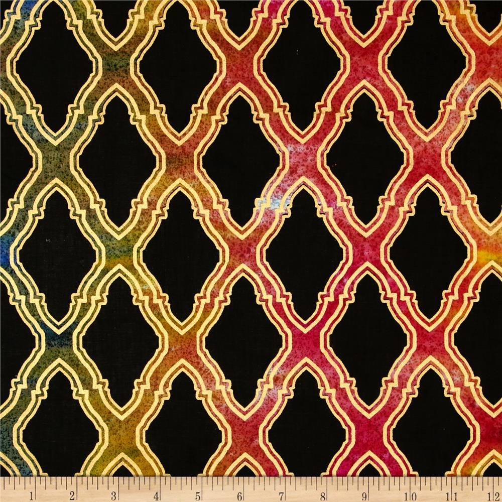 Indian Batik Metallic Honeycomb Black/Multi