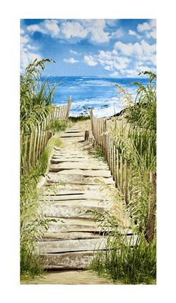 "Timeless Treasures Beach Haven Beach Scenic 23"" Panel Beach"