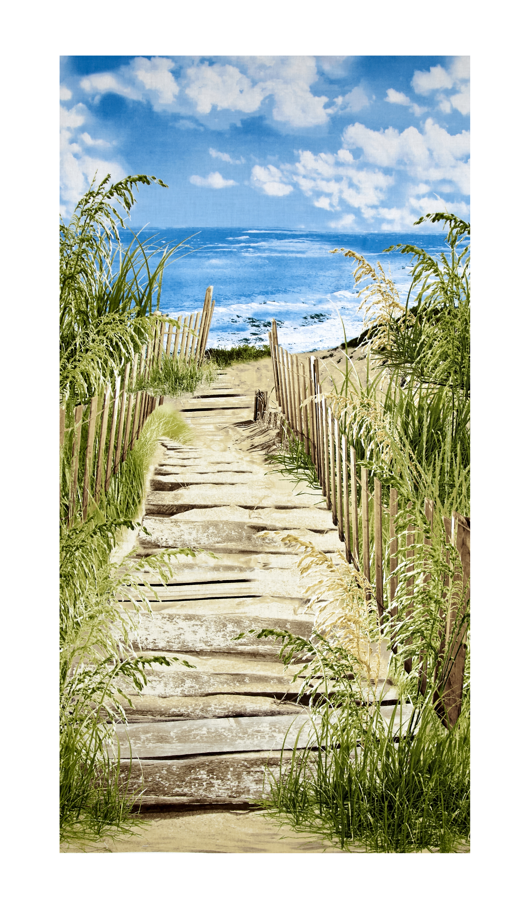Image of Timeless Treasures Beach Haven Beach Scenic 23'' Panel Beach Fabric