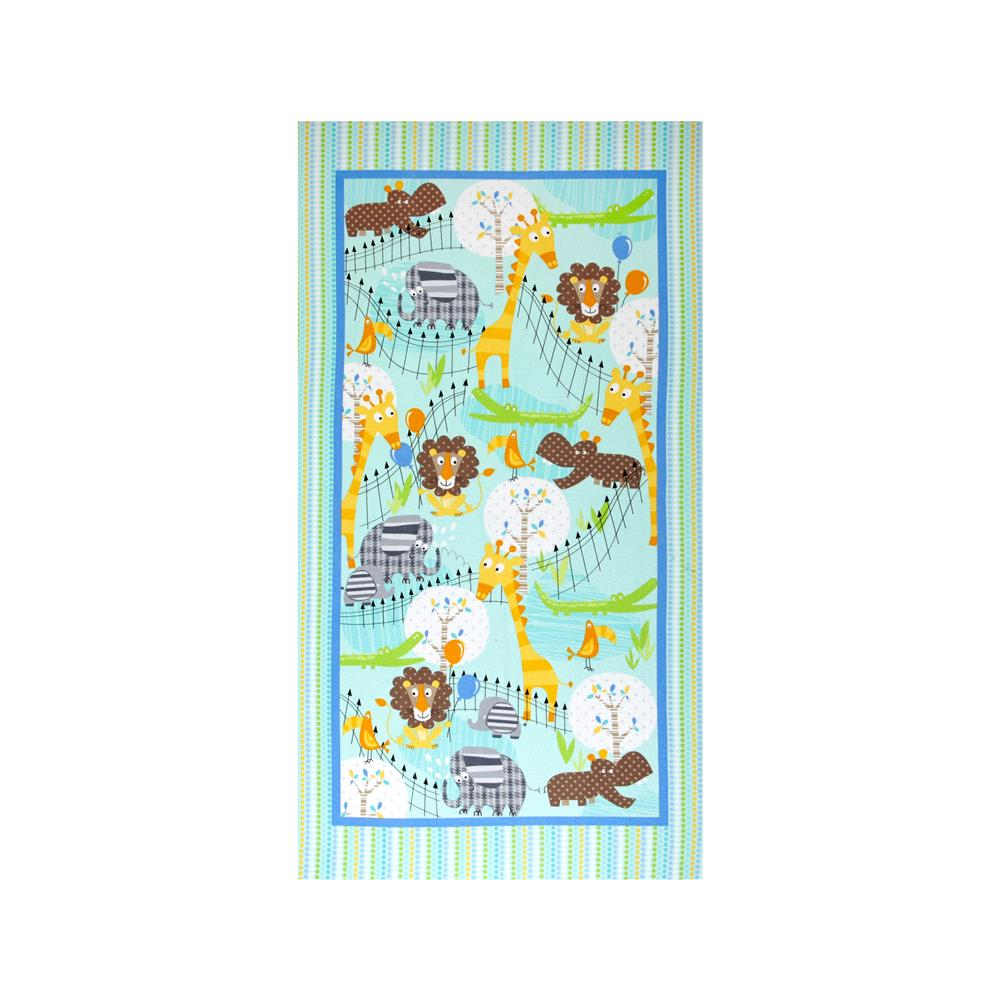 "Kanvas Zoo Baby Flannel At The Zoo 43"" Panel Aqua/Multi"