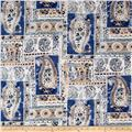 Bubble Crepe Large Paisley Denim Blue/Tan