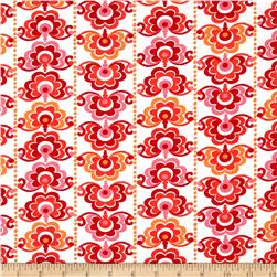 Sundborn Garden Medallion Stripe Red/Pink Fabric