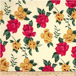Madeline Shirting Rose Floral Red/Gold