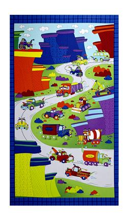 "Monster Trucks On The Road 24.5"" Panel Zaffre Blue"