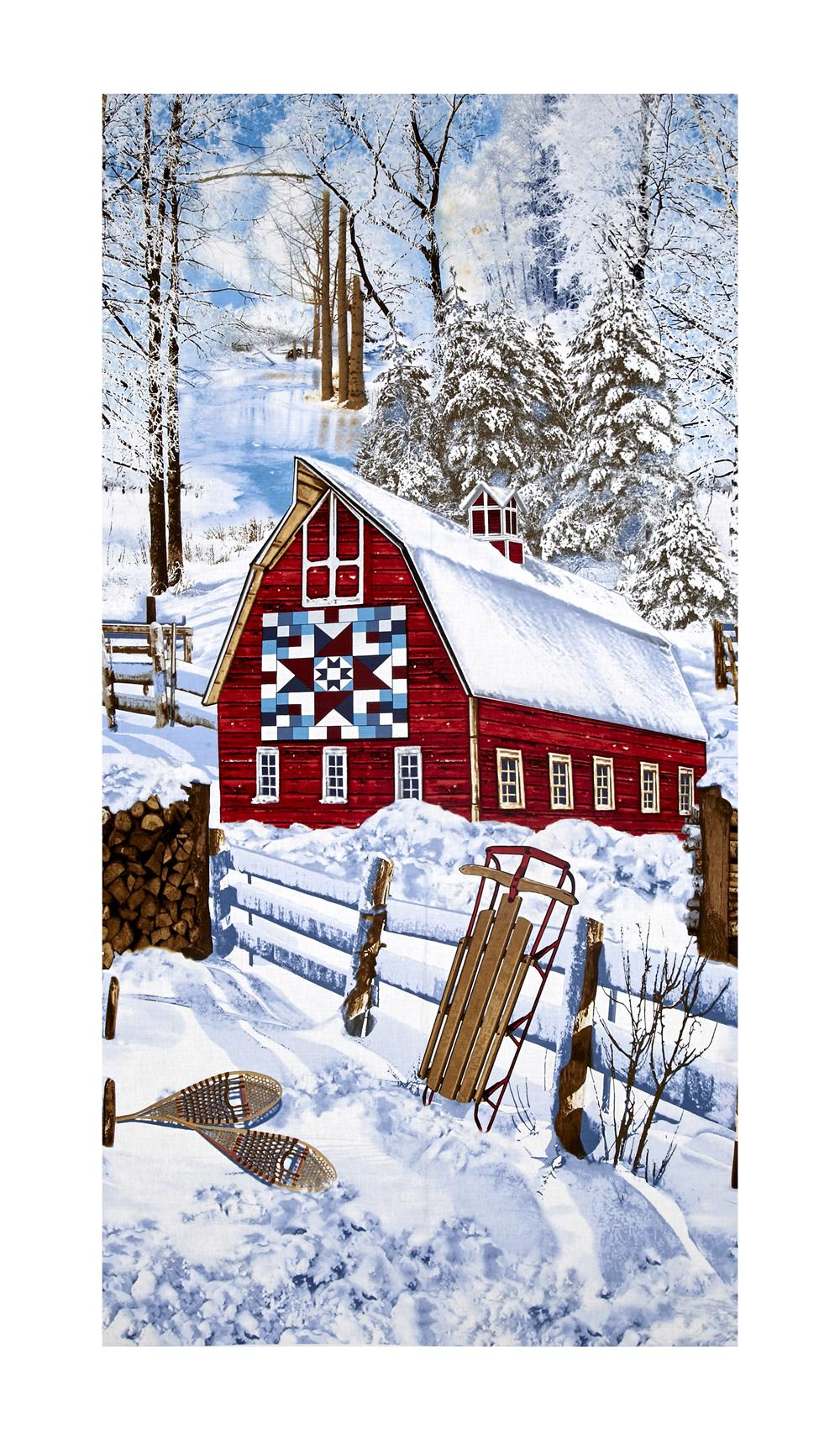 """Timeless Treasures Country Holiday Winter Barn Scenic Snow 23"""" Panel"""