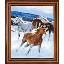Wild Wings Approaching Storm Horse Panel Brown