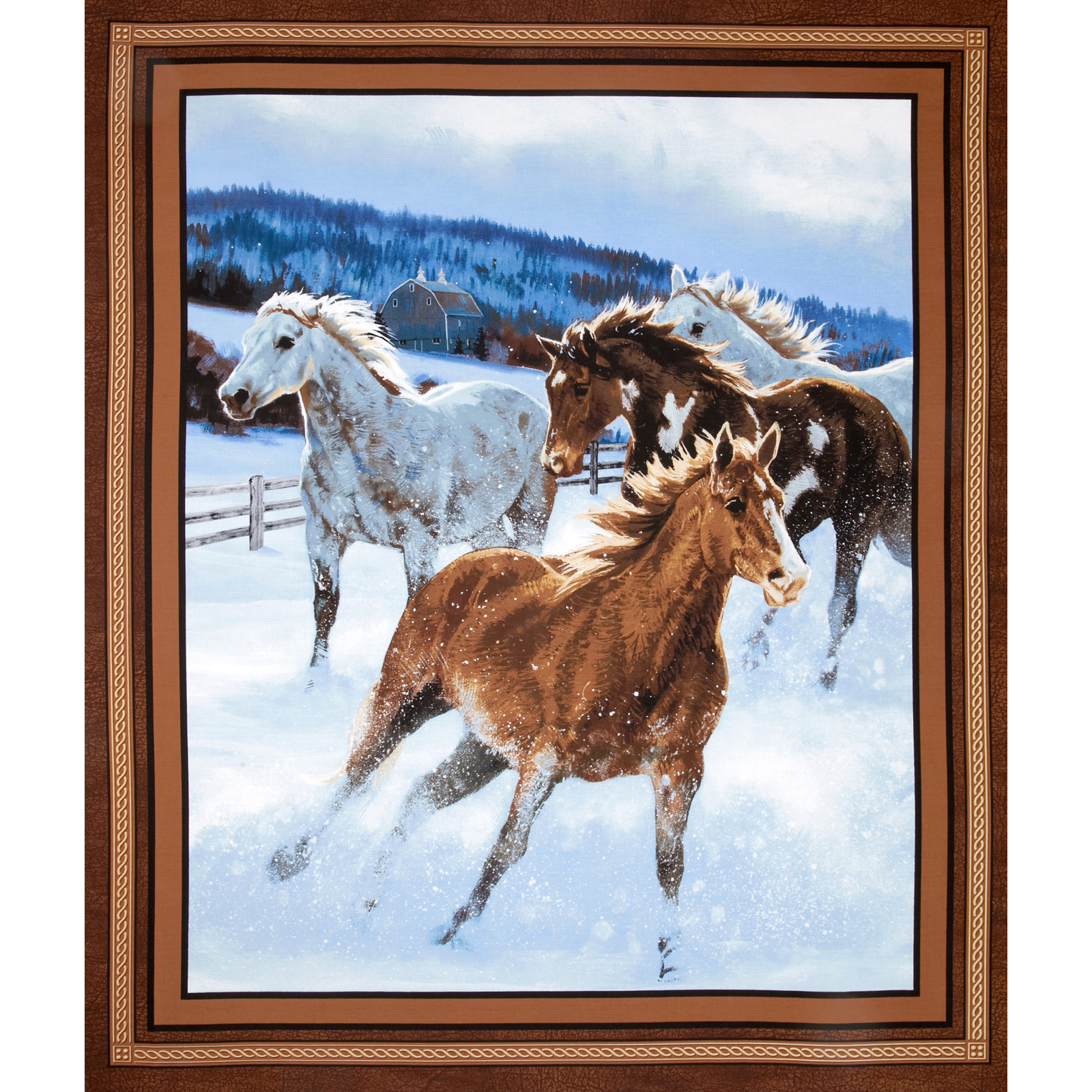 Wild Wings Approaching Storm Horse Panel Brown Fabric