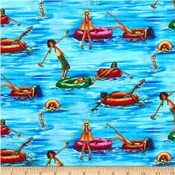 Summertime on the Pier Innertubes Blue Fabric