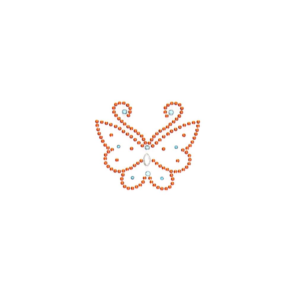 Butterfly Rhinestud Applique Orange