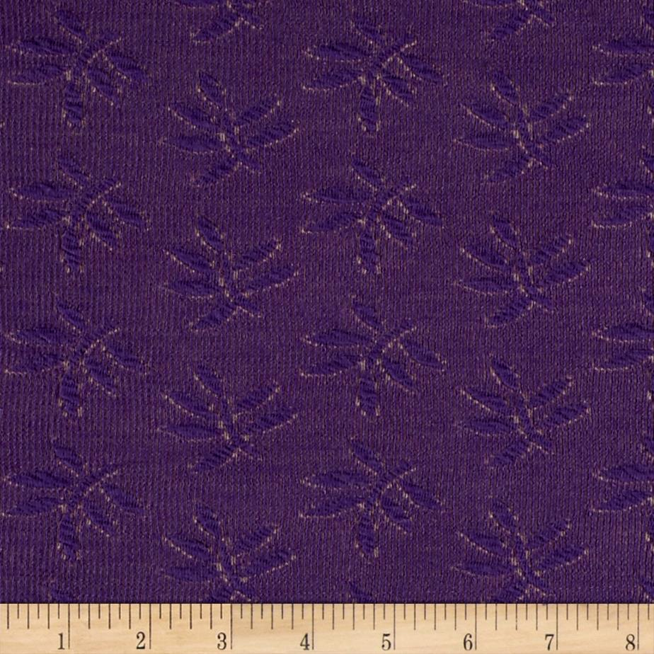 Double Knit Jacquard Palm Leaves Purple