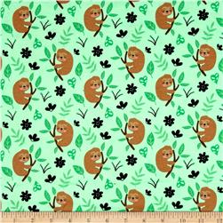 Timeless Treasures Flannel Cute Sloths Green