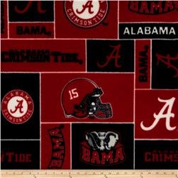 Collegiate Fleece University of Alabama Red/Black Fabric