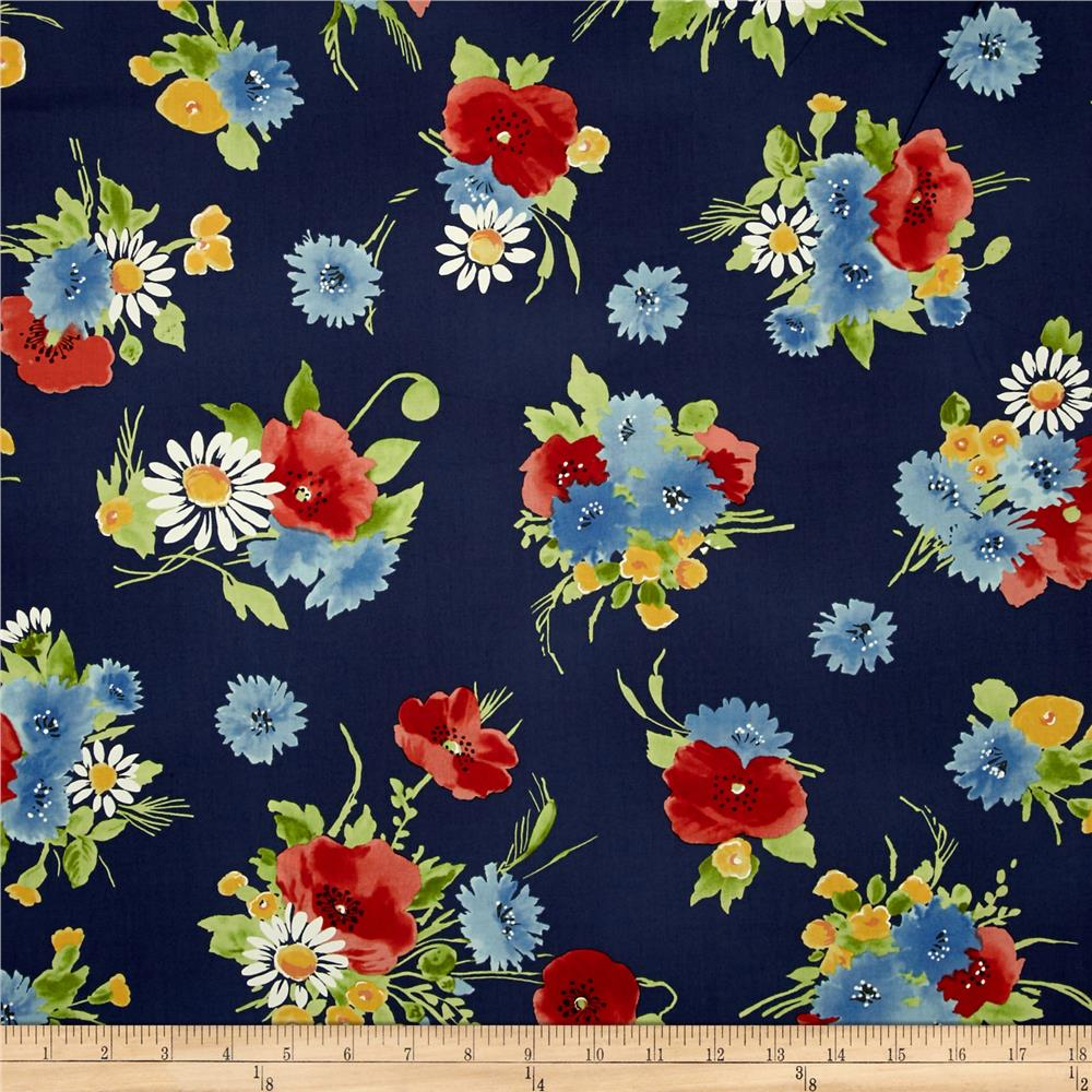 Michael Miller Vintage Florals Bette's Bouquet Navy