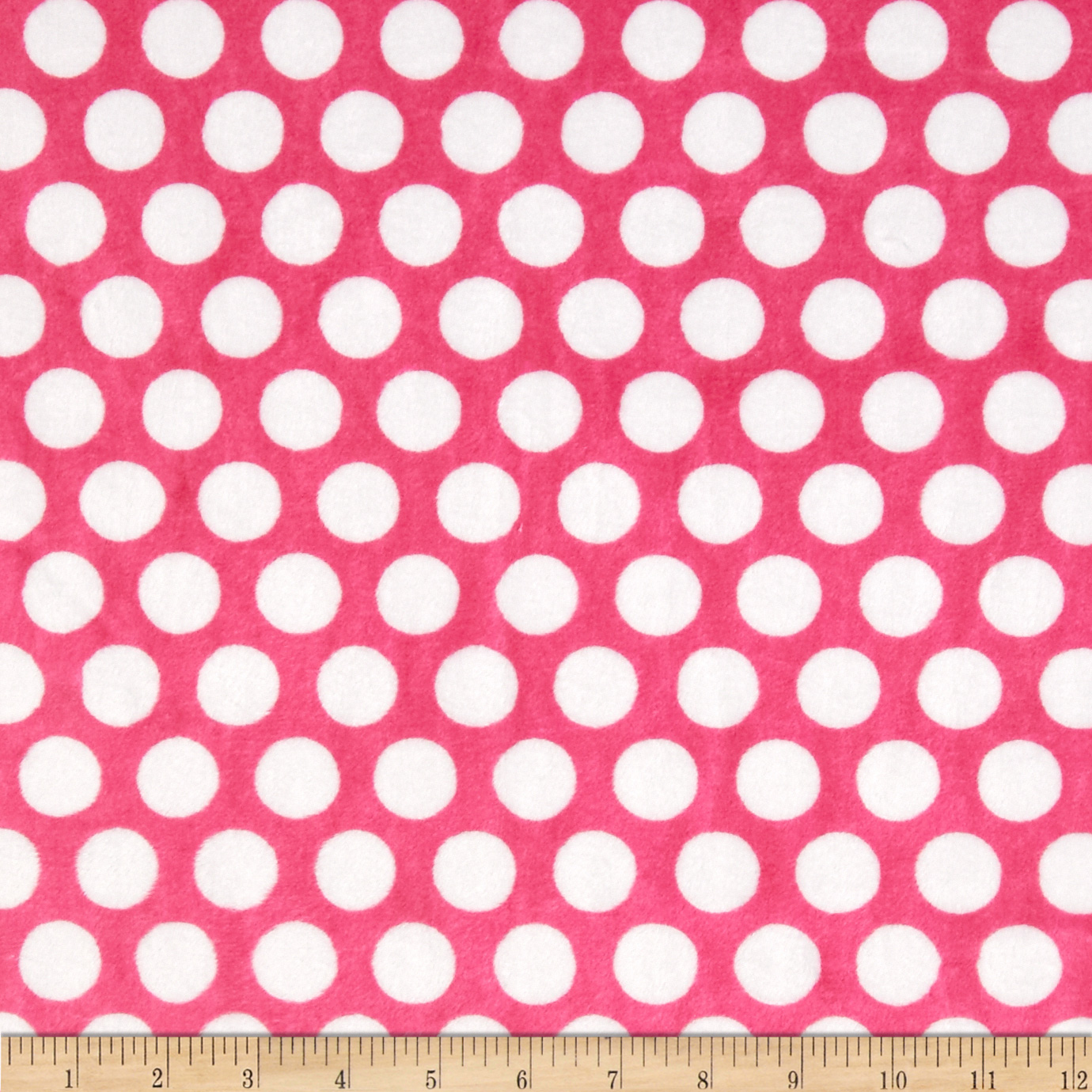 Minky Cuddle Classics Mod Dot Fuchsia/Snow Fabric