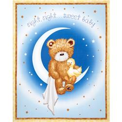 Popcorn the Bear Night, Night Sweet Baby Panel Blue
