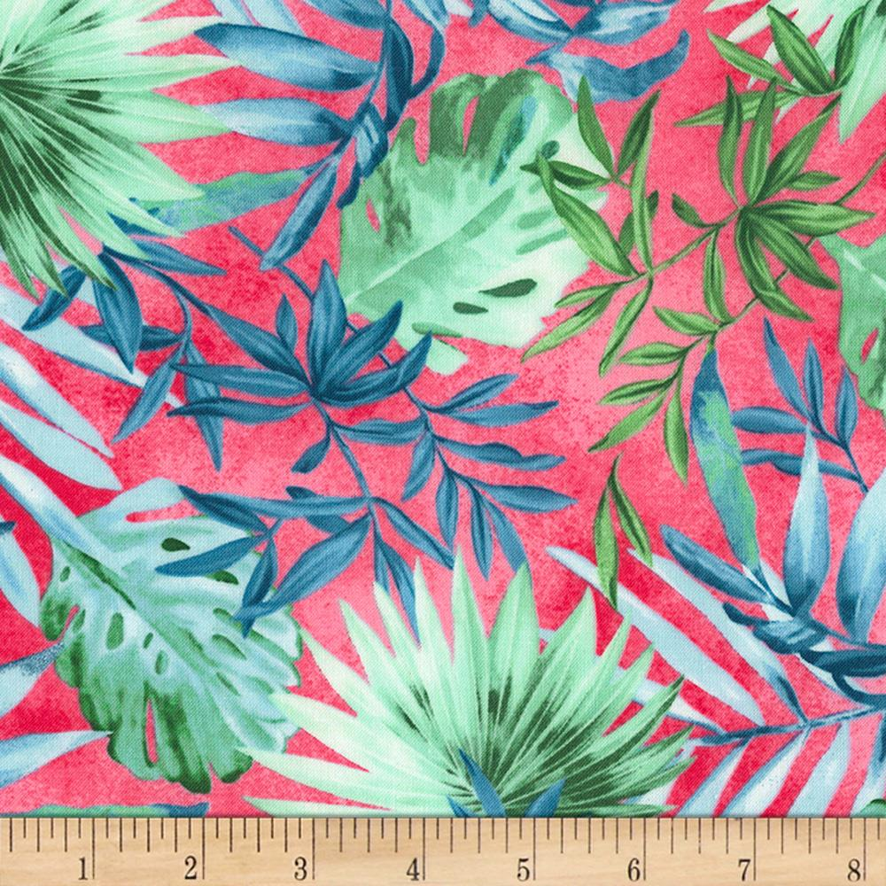 Timeless Treasures Oasis Tropical Leaves Fuchsia