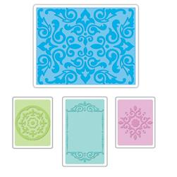Sizzix Textured Impressions Embossing Folders 4 Pack-Medallions, Frame & Damask