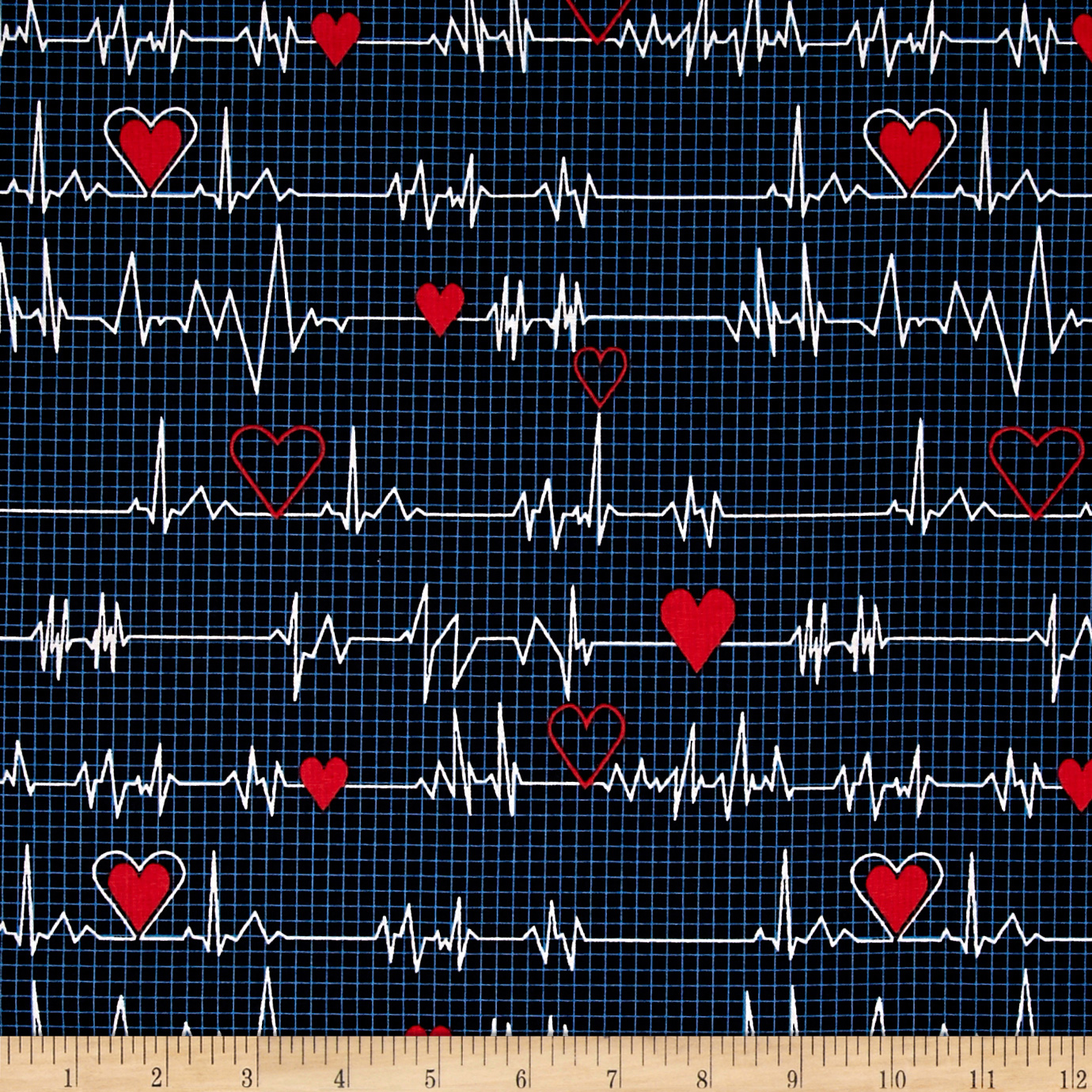 Calling All Nurses EKG Heart Beat Black Fabric