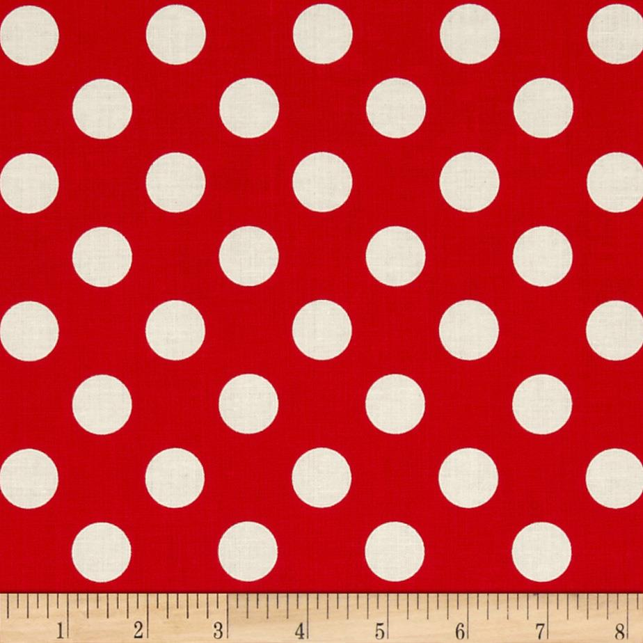 Riley Blake Le Creme Basics Medium Dots Red/Cream