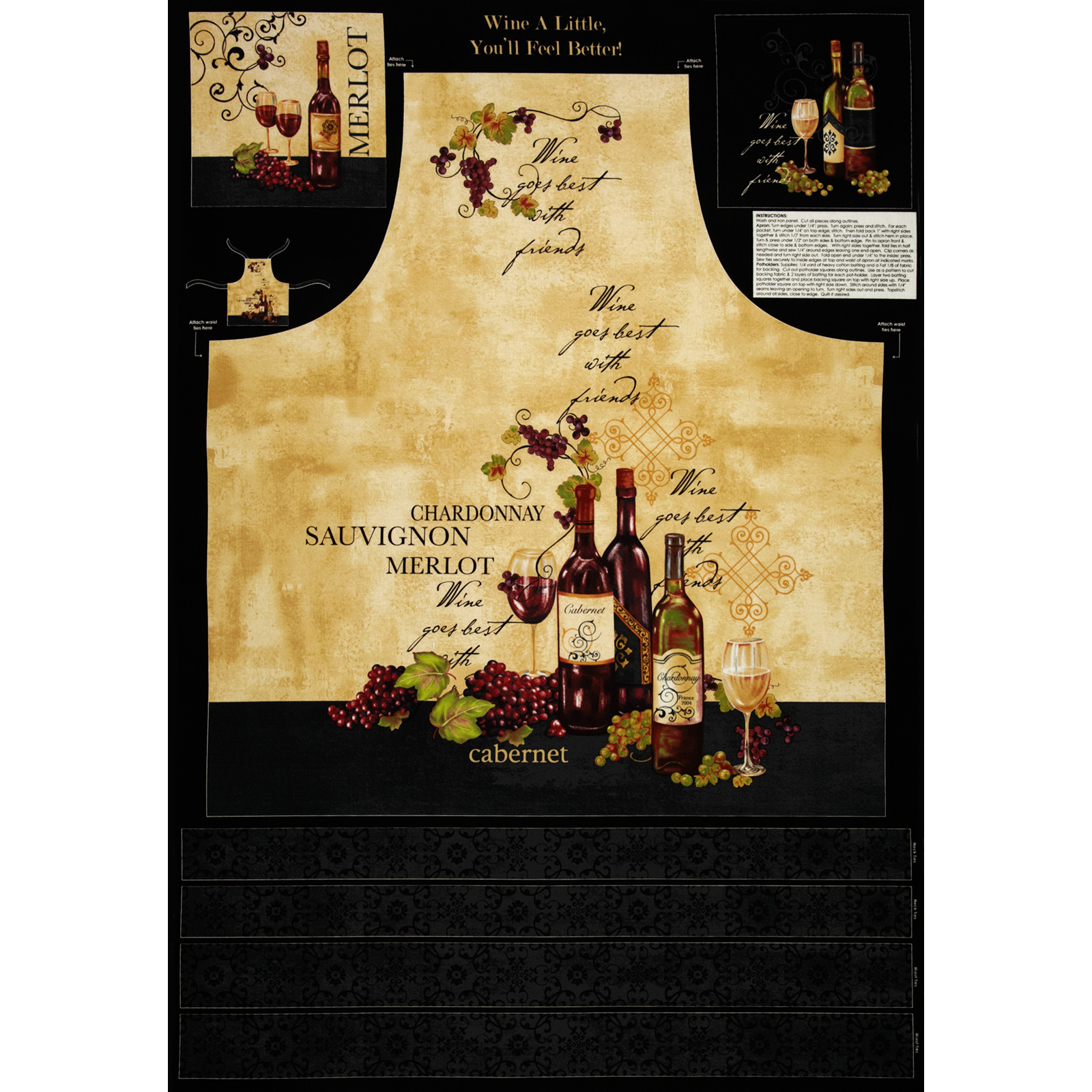 Wine A Little, You'll Feel Better Apron Panel