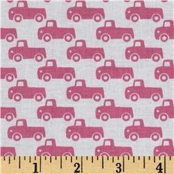 Michael Miller Tiny Trucks Pink Fabric