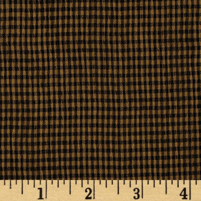 Puckered Tencel Shirting Plaid Black/Tan