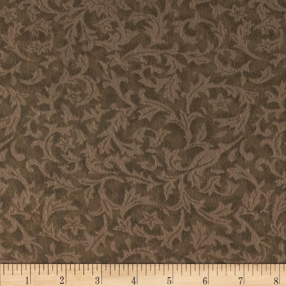 "110"" Wide Flannel Quilt Backing Leaf Taupe"